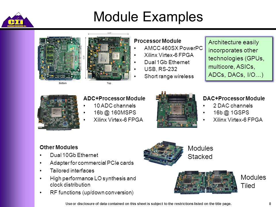 Module Examples Processor Module AMCC 460SX PowerPC Xilinx Virtex-6 FPGA Dual 1Gb Ethernet USB, RS-232 Short range wireless Architecture easily incorporates other technologies (GPUs, multicore, ASICs, ADCs, DACs, I/O…) Modules Tiled Modules Stacked ADC+Processor Module 10 ADC channels 16b @ 160MSPS Xilinx Virtex-6 FPGA DAC+Processor Module 2 DAC channels 16b @ 1GSPS Xilinx Virtex-6 FPGA Other Modules Dual 10Gb Ethernet Adapter for commercial PCIe cards Tailored interfaces High performance LO synthesis and clock distribution RF functions (up/down conversion) 8Use or disclosure of data contained on this sheet is subject to the restrictions listed on the title page.
