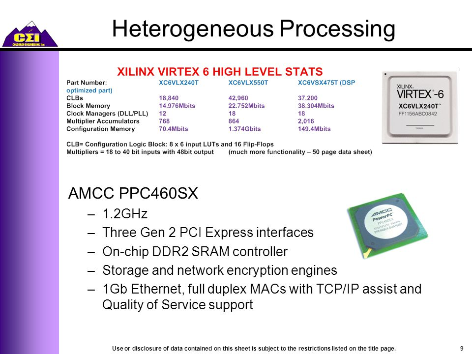 Heterogeneous Processing AMCC PPC460SX –1.2GHz –Three Gen 2 PCI Express interfaces –On-chip DDR2 SRAM controller –Storage and network encryption engines –1Gb Ethernet, full duplex MACs with TCP/IP assist and Quality of Service support 9Use or disclosure of data contained on this sheet is subject to the restrictions listed on the title page.