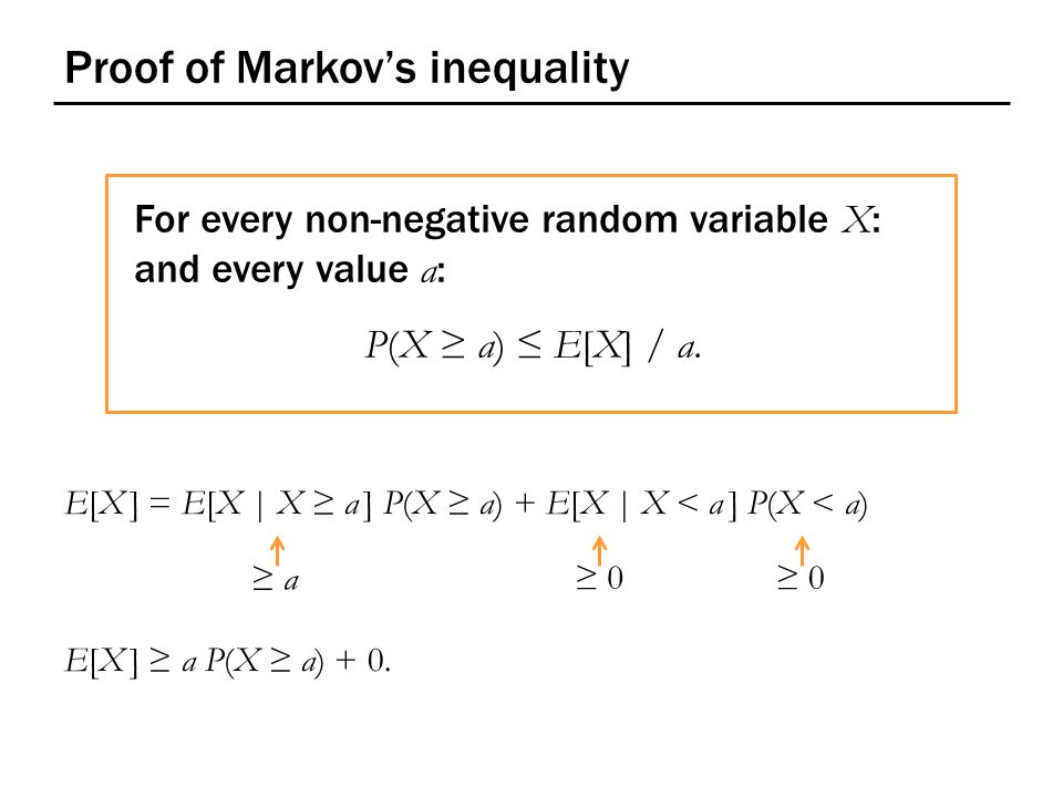 Proof of Markov's inequality For every non-negative random variable X : and every value a : P(X ≥ a) ≤ E[X] / a.