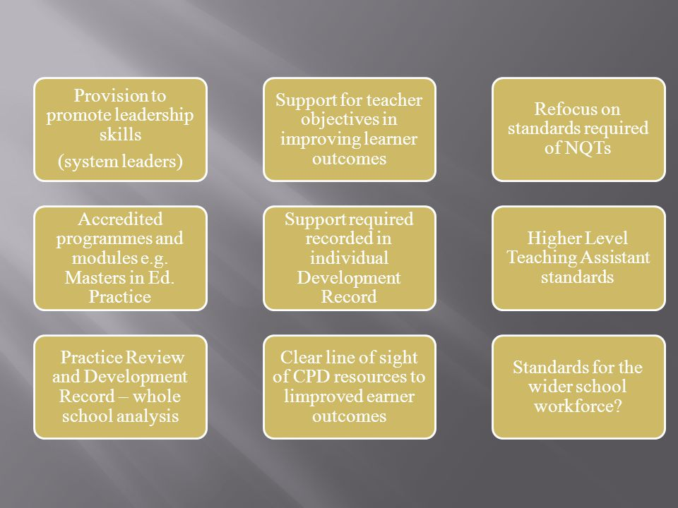 Provision to promote leadership skills (system leaders) Accredited programmes and modules e.g.