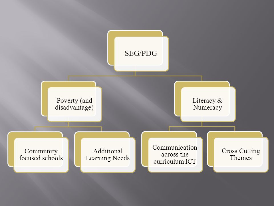 SEG/PDG Poverty (and disadvantage) Community focused schools Additional Learning Needs Literacy & Numeracy Communication across the curriculum ICT Cross Cutting Themes