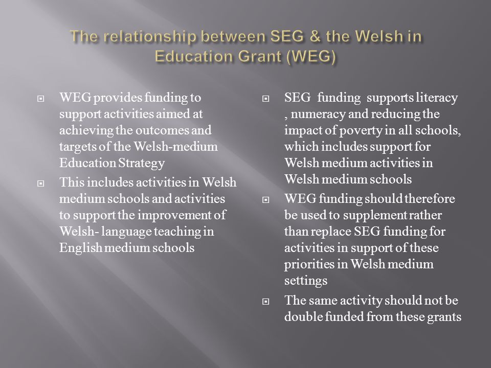  WEG provides funding to support activities aimed at achieving the outcomes and targets of the Welsh-medium Education Strategy  This includes activities in Welsh medium schools and activities to support the improvement of Welsh- language teaching in English medium schools  SEG funding supports literacy, numeracy and reducing the impact of poverty in all schools, which includes support for Welsh medium activities in Welsh medium schools  WEG funding should therefore be used to supplement rather than replace SEG funding for activities in support of these priorities in Welsh medium settings  The same activity should not be double funded from these grants
