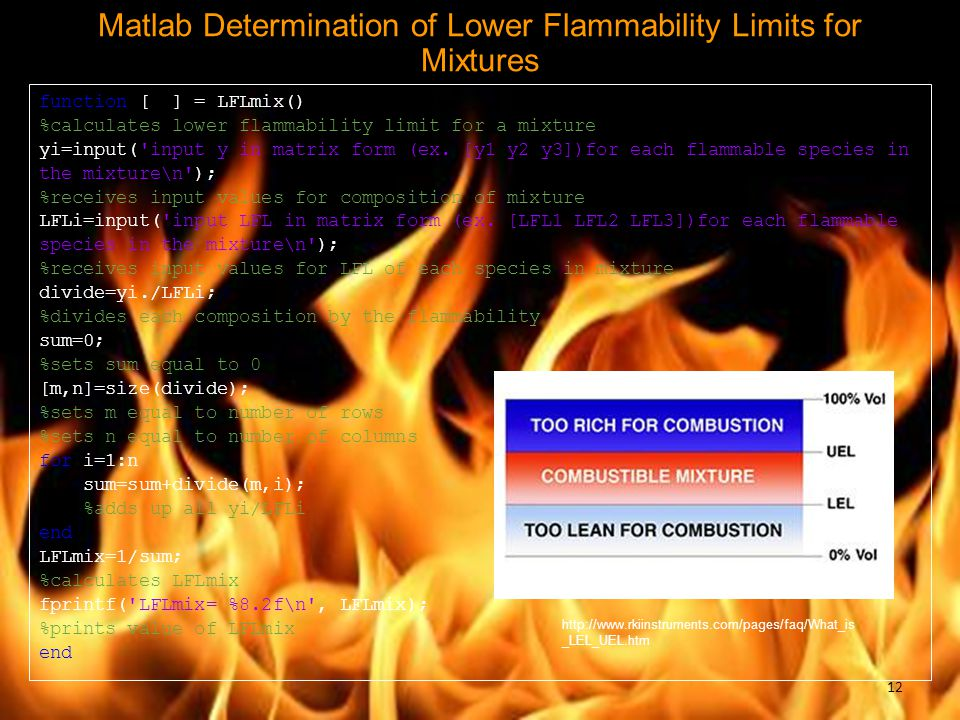 Matlab Determination of Lower Flammability Limits for Mixtures function [ ] = LFLmix() %calculates lower flammability limit for a mixture yi=input('in