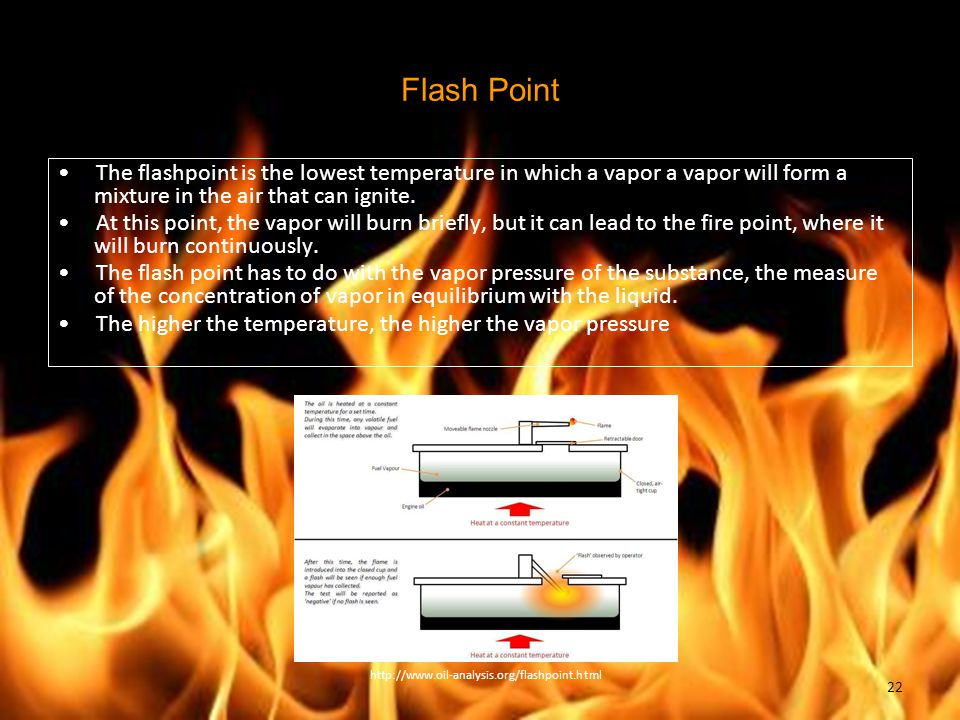 Flash Point The flashpoint is the lowest temperature in which a vapor a vapor will form a mixture in the air that can ignite. At this point, the vapor