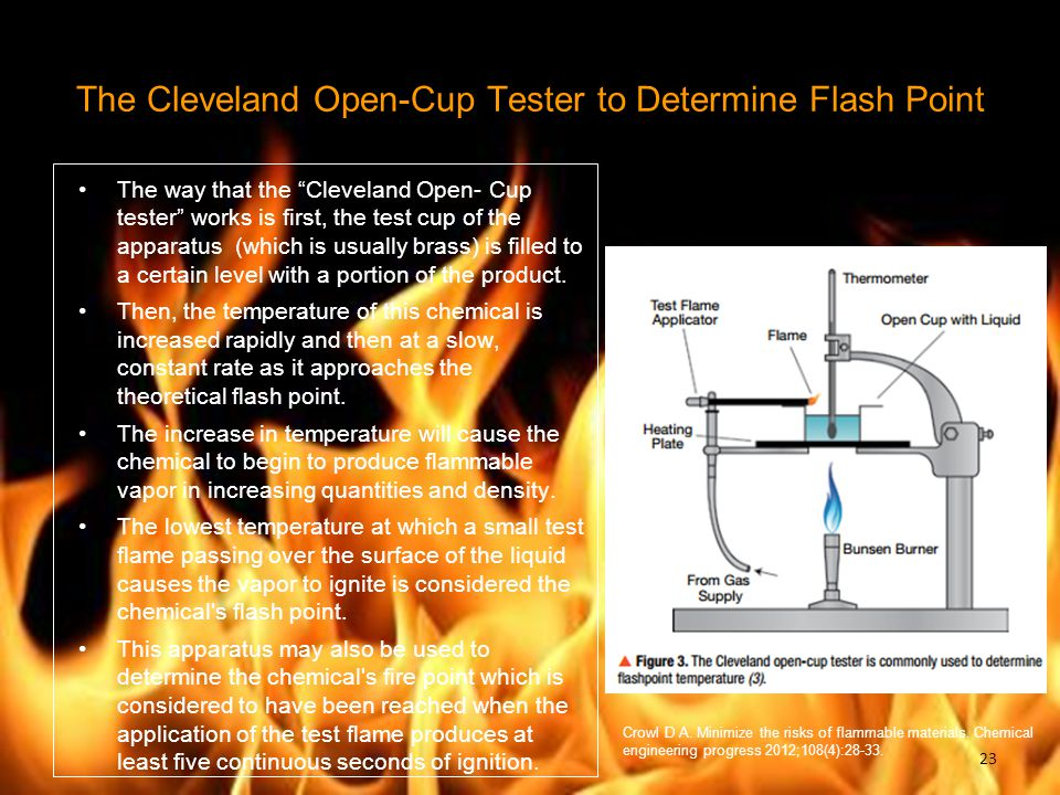 """The Cleveland Open-Cup Tester to Determine Flash Point The way that the """"Cleveland Open- Cup tester"""" works is first, the test cup of the apparatus (wh"""