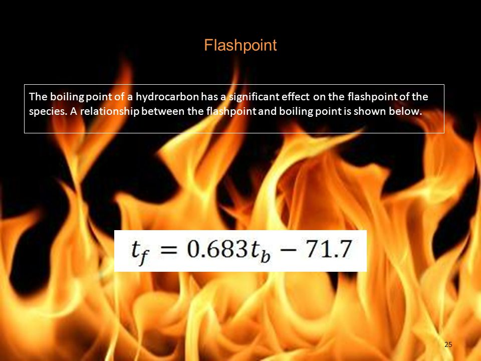 Flashpoint The boiling point of a hydrocarbon has a significant effect on the flashpoint of the species.