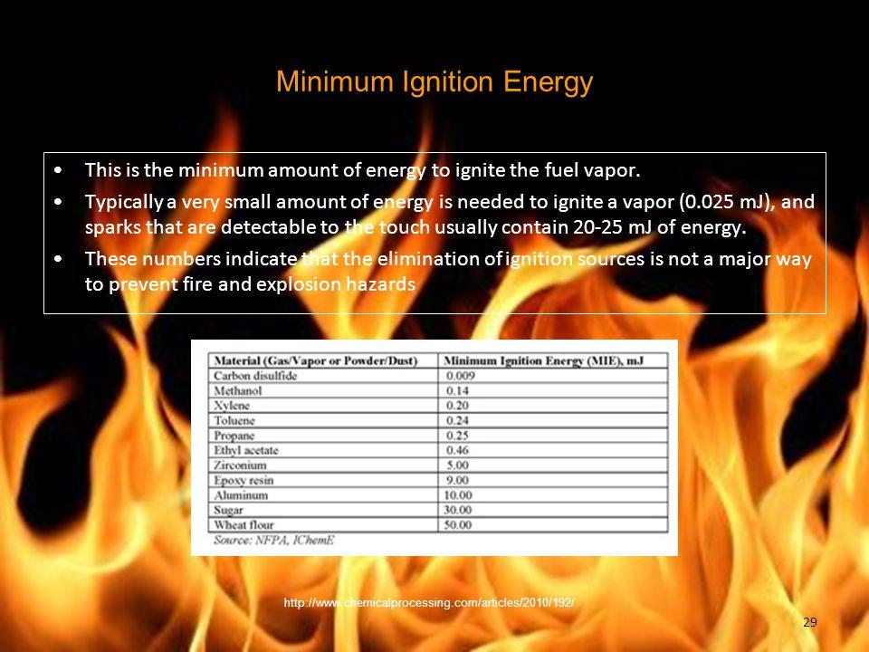 Minimum Ignition Energy This is the minimum amount of energy to ignite the fuel vapor.