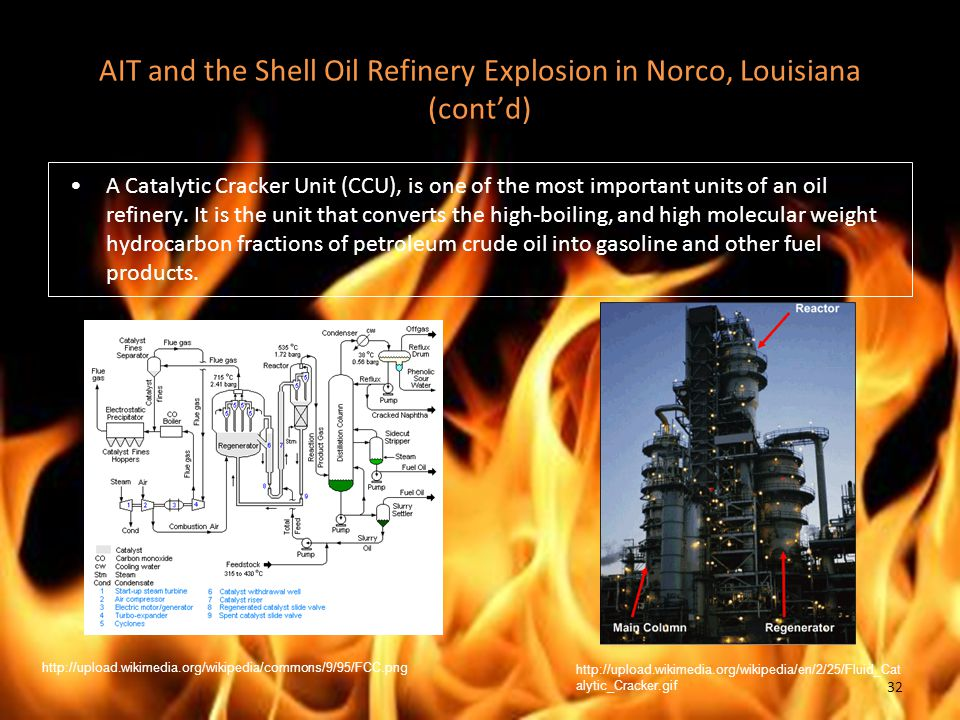 AIT and the Shell Oil Refinery Explosion in Norco, Louisiana (cont'd) A Catalytic Cracker Unit (CCU), is one of the most important units of an oil refinery.