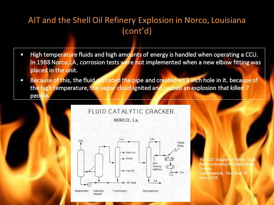 AIT and the Shell Oil Refinery Explosion in Norco, Louisiana (cont'd) High temperature fluids and high amounts of energy is handled when operating a CCU.