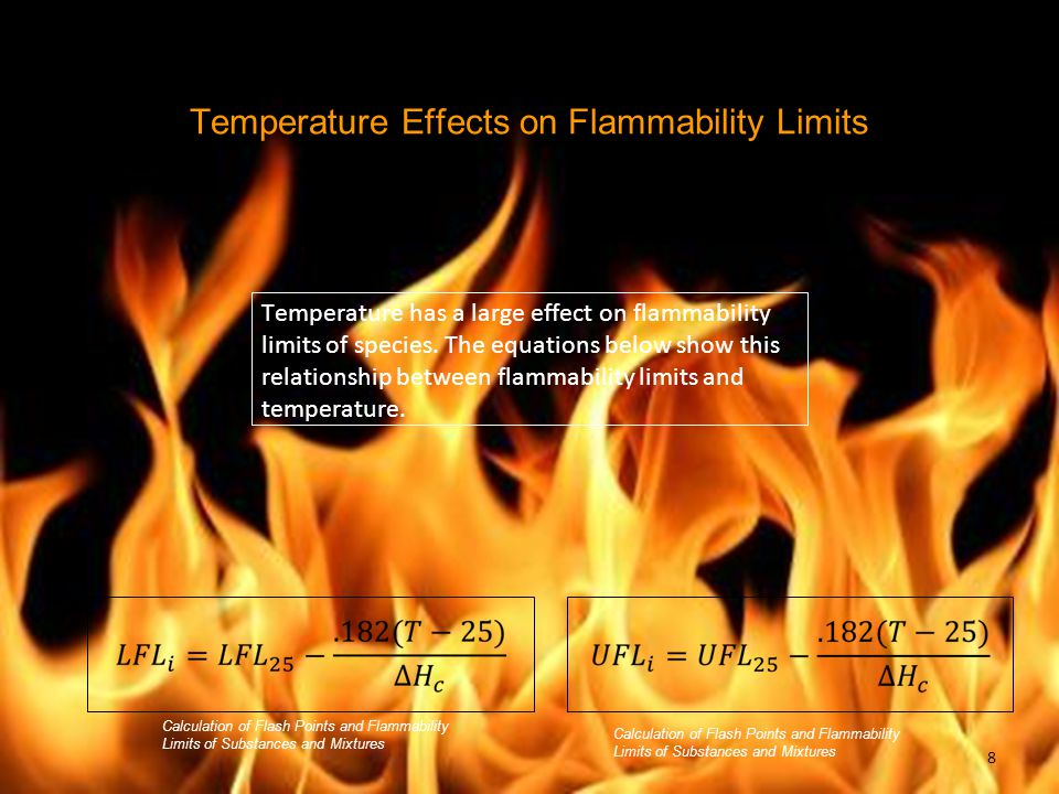 Temperature Effects on Flammability Limits Temperature has a large effect on flammability limits of species.