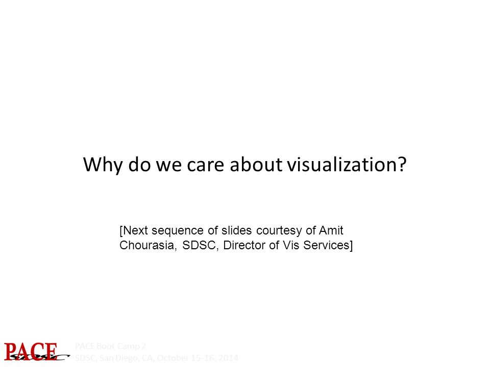 PACE Boot Camp 2 SDSC, San Diego, CA, October 15-16, 2014 Why do we care about visualization.