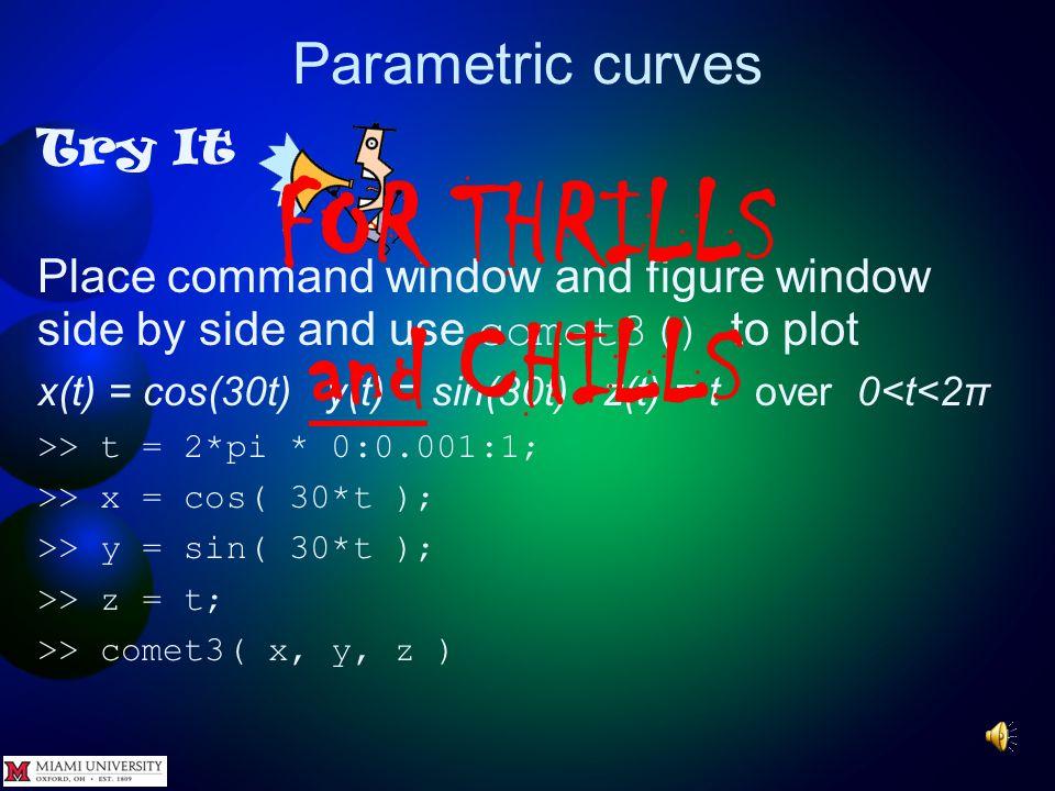 Parametric curves Try It Plot x(t) = cos(4t) y(t) = sin(4t) z(t) = t over 0<t<2π >>ezplot3( @(t)cos(4*t),@(t)sin(4*t),...