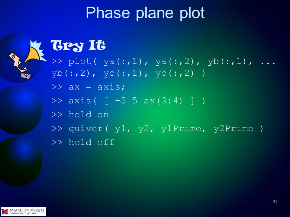 Phase plane plot 31 To answer question about solution with initial conditions close to those of another solution (yellow dot close to green line), put phase-plane plot and quiver plot together