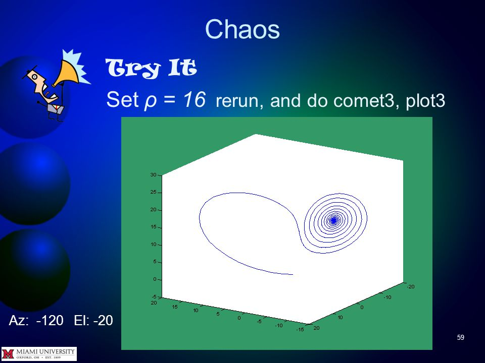 Chaos 58 Try It View two state variables at a time >> plot( y(:,1), y(:,2) ) >> plot( y(:,1), y(:,3) ) >> plot( y(:,2), y(:,3) )