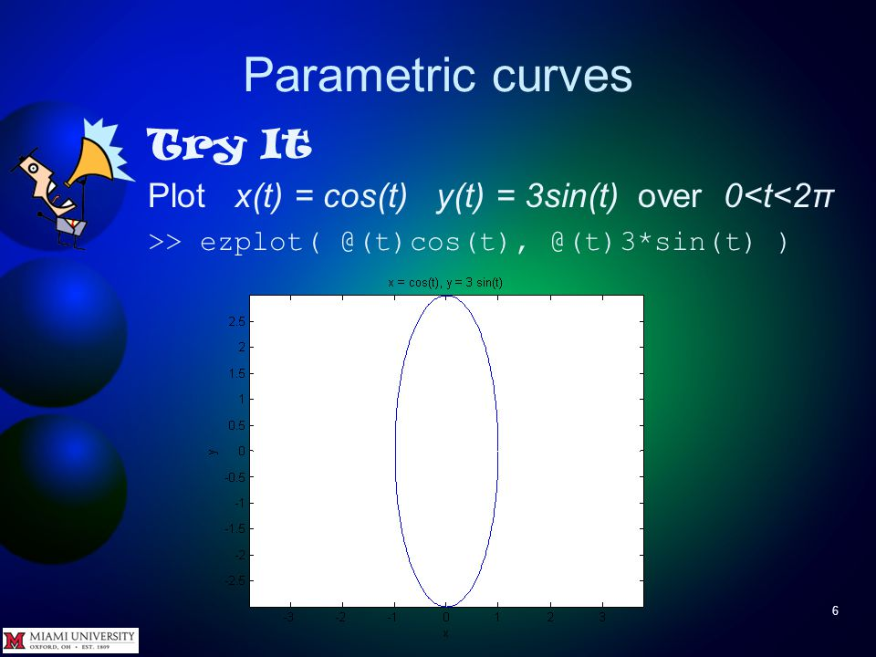Parametric curves 5 To plot 2D parametric curves use ezplot(funx,funy) ezplot(funx,funy,[tmin,tmax]) where funx is handle to function x(t) funy is handle to function y(t) tmin, tmax specify range of t – if omitted, range is 0 < t < 2π