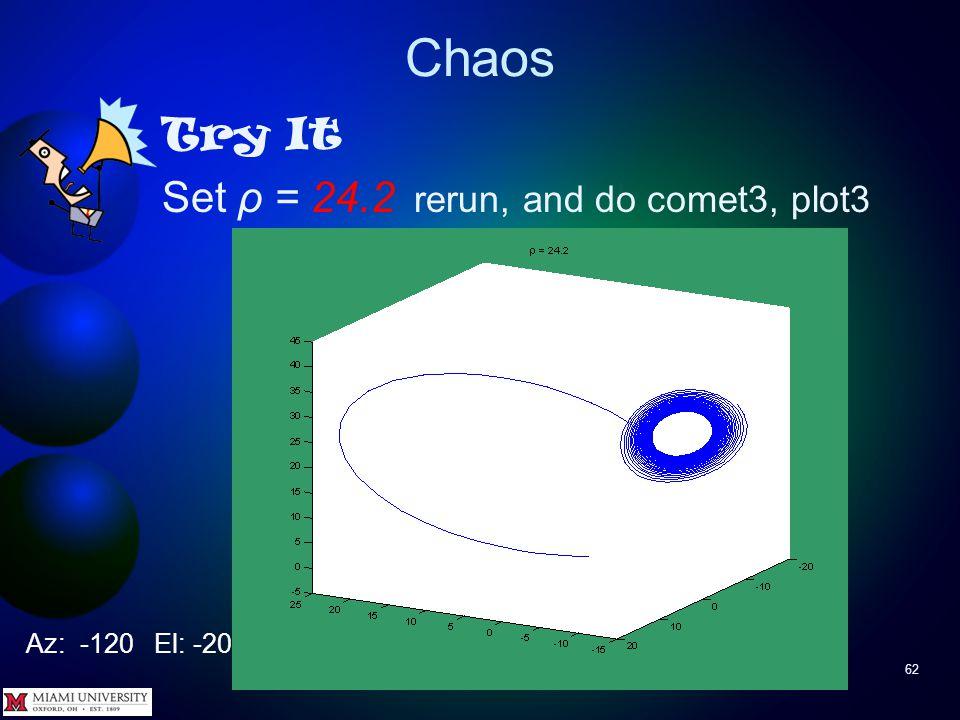 Chaos 61 Try It Set ρ = 20 rerun, and do comet3, plot3 Az: -120 El: -20