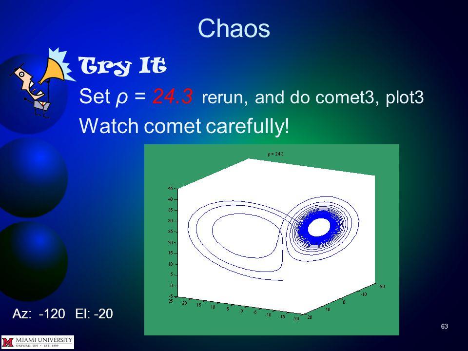 Chaos 62 Try It Set ρ = 24.2 rerun, and do comet3, plot3 Az: -120 El: -20