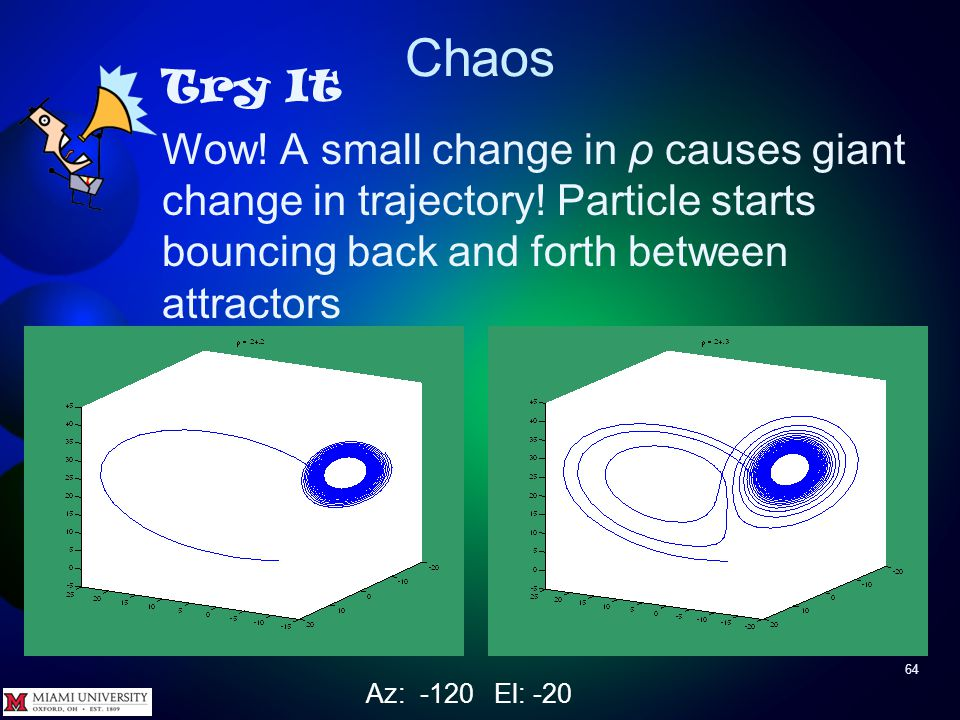 Chaos 63 Try It Set ρ = 24.3 rerun, and do comet3, plot3 Watch comet carefully! Az: -120 El: -20