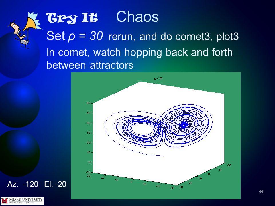 Chaos 65 Try It Set ρ = 26 rerun, and do comet3, plot3 Az: -120 El: -20