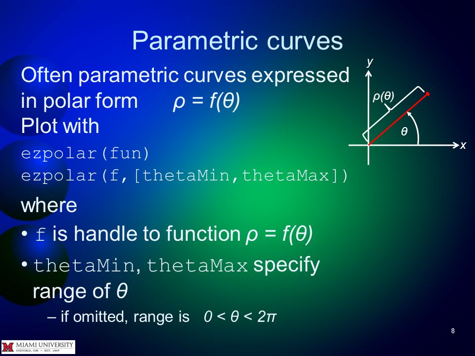 Parametric curves 7 Try It Plot x(t) = cos 3 (t) y(t) = 3sin(t) –Hint: use the vector arithmetic operators.*,./, and.^ to avoid warnings >> ezplot( @(t)cos(t).^3, @(t)3*sin(t) )