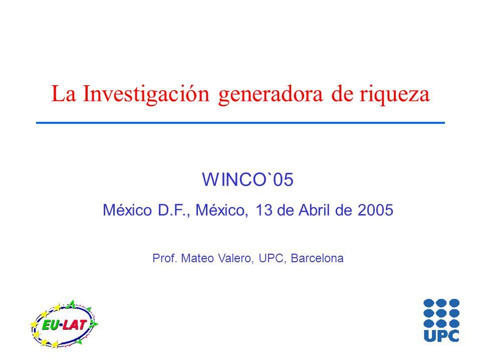 La Investigación generadora de riqueza WINCO`05 México D.F., México, 13 de Abril de 2005 Prof.