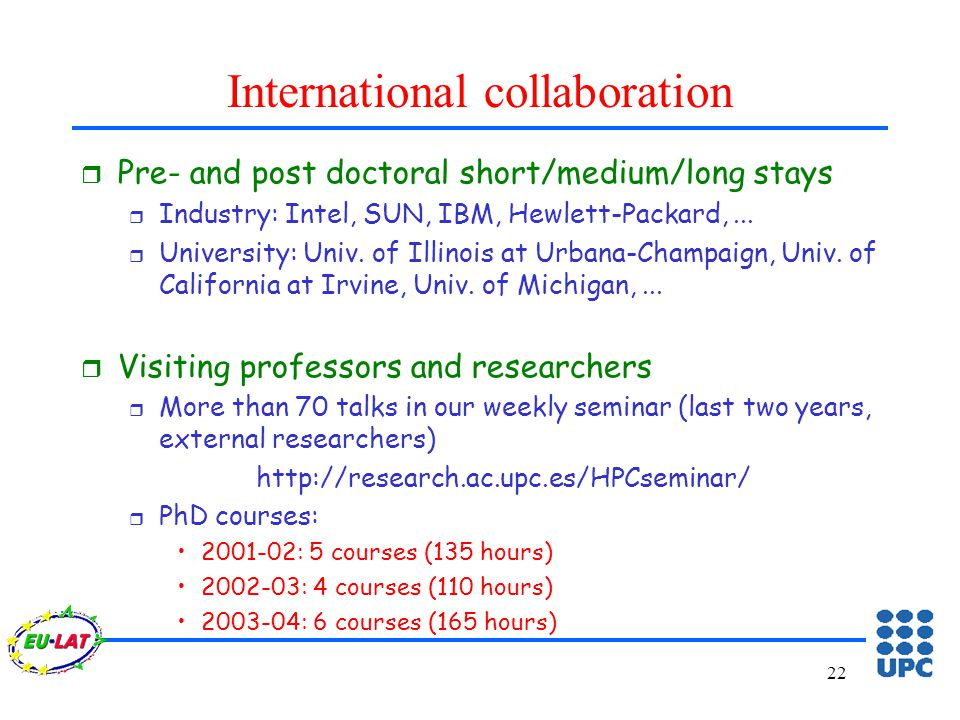 22 International collaboration r Pre- and post doctoral short/medium/long stays r Industry: Intel, SUN, IBM, Hewlett-Packard,...
