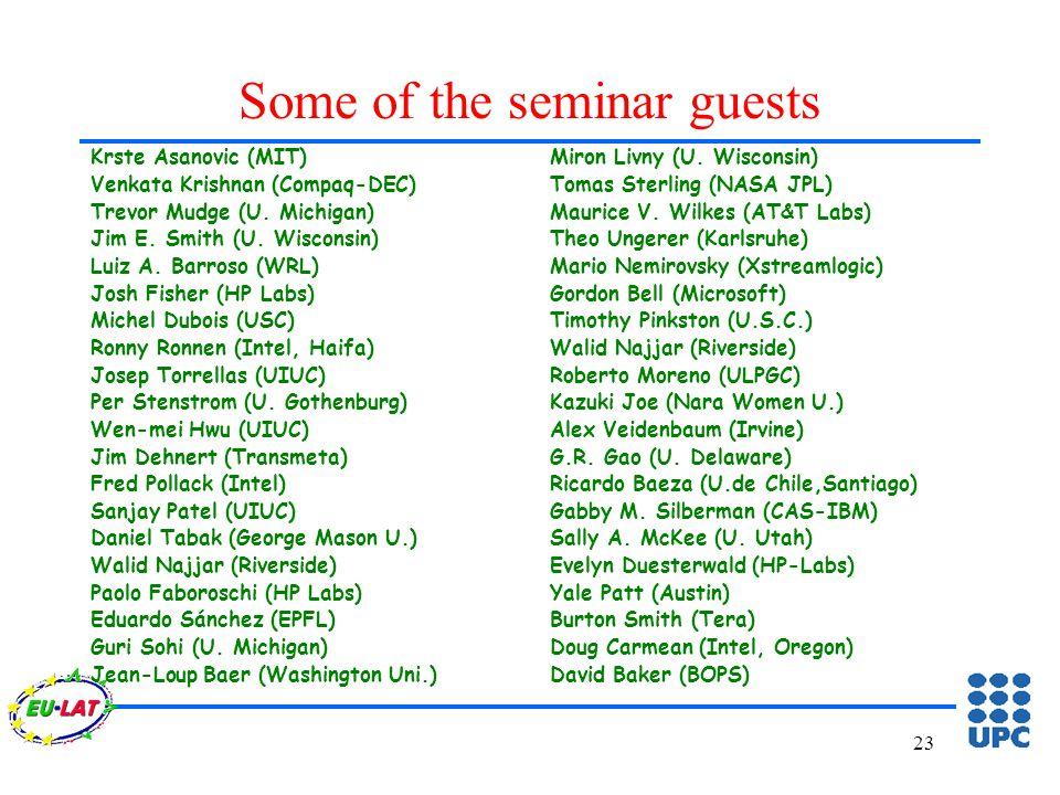 23 Some of the seminar guests Krste Asanovic (MIT) Venkata Krishnan (Compaq-DEC) Trevor Mudge (U.
