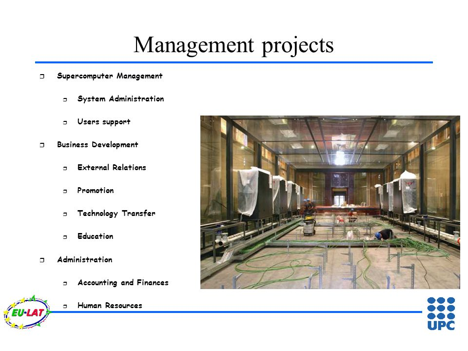 Management projects r Supercomputer Management r System Administration r Users support r Business Development r External Relations r Promotion r Technology Transfer r Education r Administration r Accounting and Finances r Human Resources