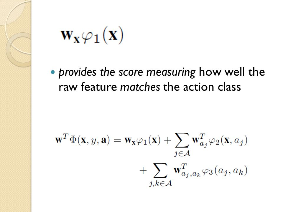 provides the score measuring how well the raw feature matches the action class