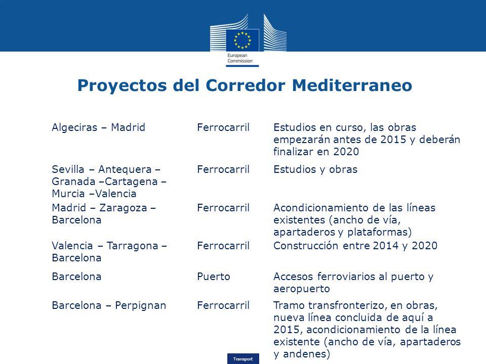 Transport Proyectos del Corredor Mediterraneo Algeciras – MadridFerrocarrilEstudios en curso, las obras empezarán antes de 2015 y deberán finalizar en