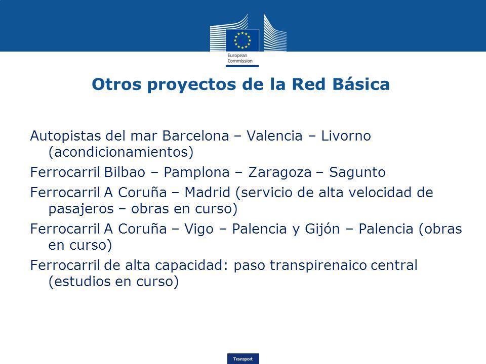 Transport Otros proyectos de la Red Básica Autopistas del mar Barcelona – Valencia – Livorno (acondicionamientos) Ferrocarril Bilbao – Pamplona – Zara