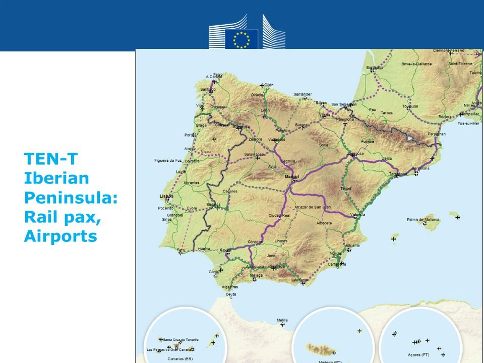Transport TEN-T Iberian Peninsula: Rail pax, Airports