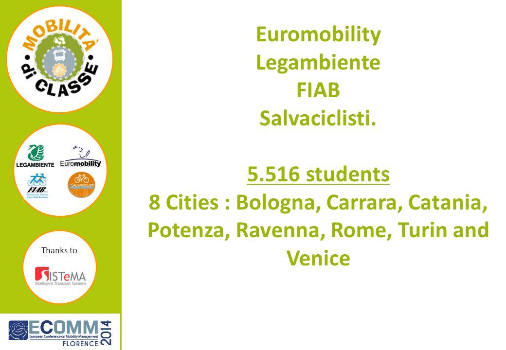 Thanks to Euromobility Legambiente FIAB Salvaciclisti.