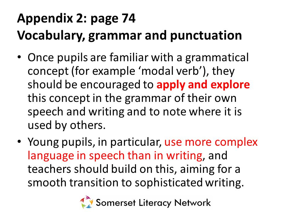 Appendix 2: page 74 Vocabulary, grammar and punctuation The table focuses on Standard English and should be read in conjunction with the programme of study as it sets out the statutory requirements.