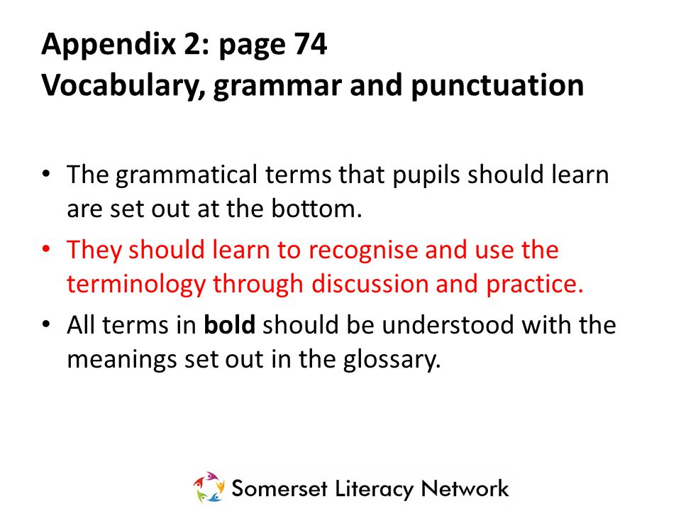 The grammatical terms that pupils should learn are set out at the bottom. They should learn to recognise and use the terminology through discussion an
