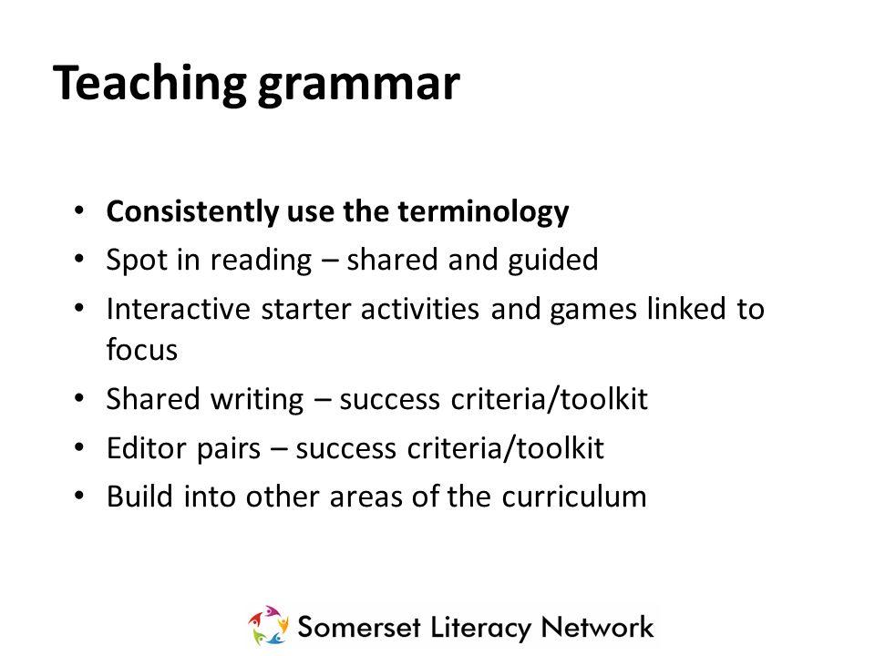 Grammar terminology Subject Knowledge… NC Glossary SLN Passports