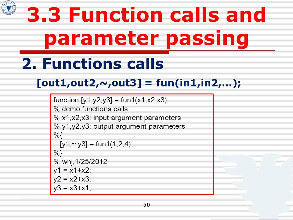 50 3.3 Function calls and parameter passing 2.
