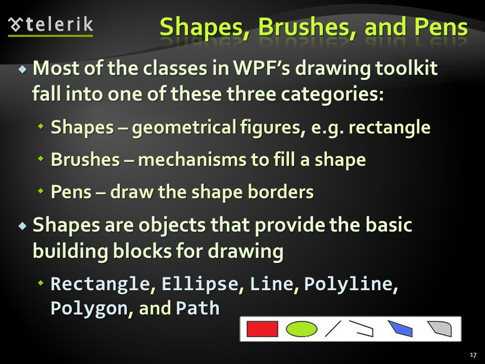  Most of the classes in WPF's drawing toolkit fall into one of these three categories:  Shapes – geometrical figures, e.g.