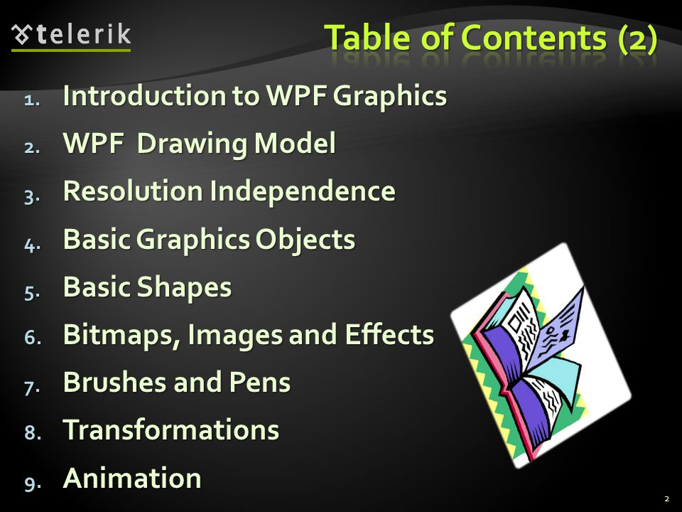 1. Introduction to WPF Graphics 2. WPF Drawing Model 3.