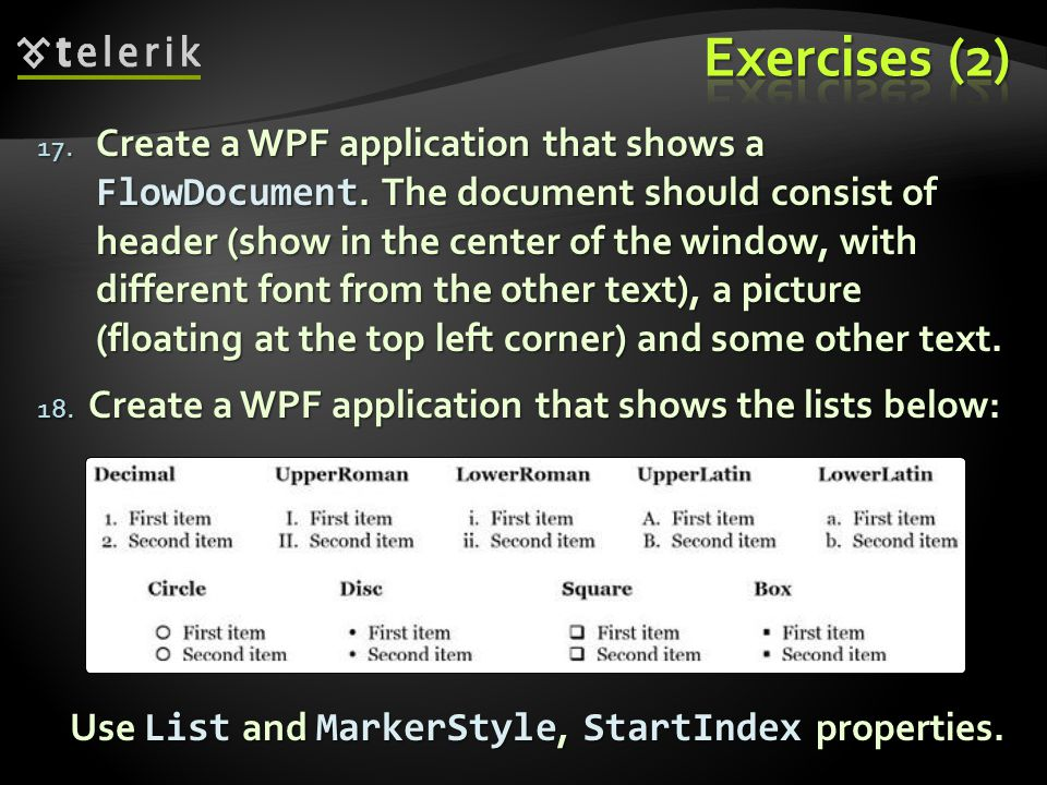 17. Create a WPF application that shows a FlowDocument.