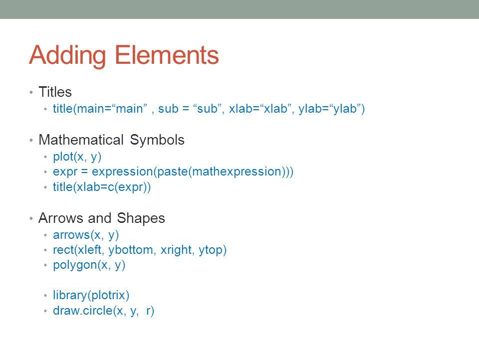"Adding Elements Titles title(main=""main"", sub = ""sub"", xlab=""xlab"", ylab=""ylab"") Mathematical Symbols plot(x, y) expr = expression(paste(mathexpressio"