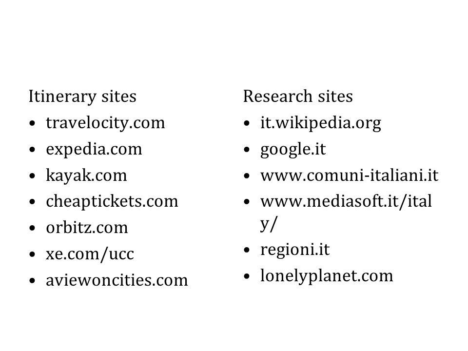 Itinerary sites travelocity.com expedia.com kayak.com cheaptickets.com orbitz.com xe.com/ucc aviewoncities.com Research sites it.wikipedia.org google.it www.comuni-italiani.it www.mediasoft.it/ital y/ regioni.it lonelyplanet.com