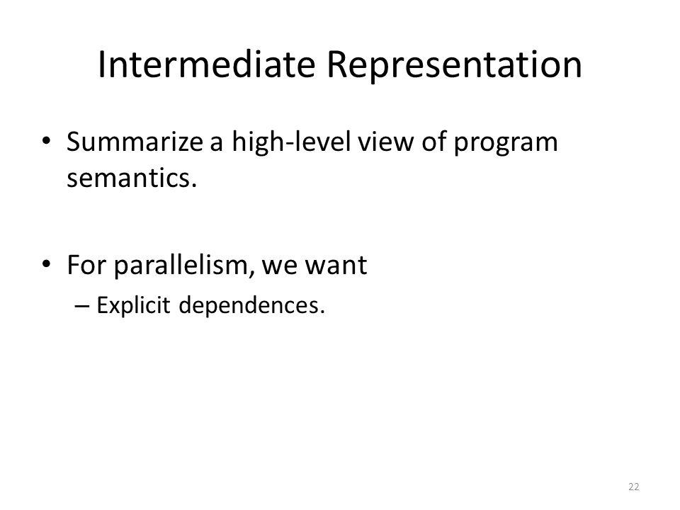 Intermediate Representation Summarize a high-level view of program semantics. For parallelism, we want – Explicit dependences. 22