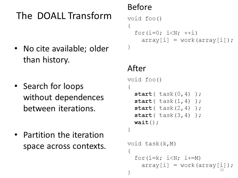 No cite available; older than history. Search for loops without dependences between iterations. Partition the iteration space across contexts. void fo