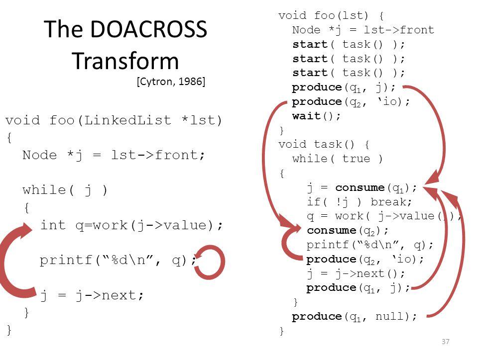 void foo(lst) { Node *j = lst->front start( task() ); produce(q 1, j); produce(q 2, 'io); wait(); } void task() { while( true ) { j = consume(q 1 ); if( !j ) break; q = work( j->value()); consume(q 2 ); printf( %d\n , q); produce(q 2, 'io); j = j->next(); produce(q 1, j); } produce(q 1, null); } The DOACROSS Transform [Cytron, 1986] 37 void foo(LinkedList *lst) { Node *j = lst->front; while( j ) { int q=work(j->value); printf( %d\n , q); j = j->next; }