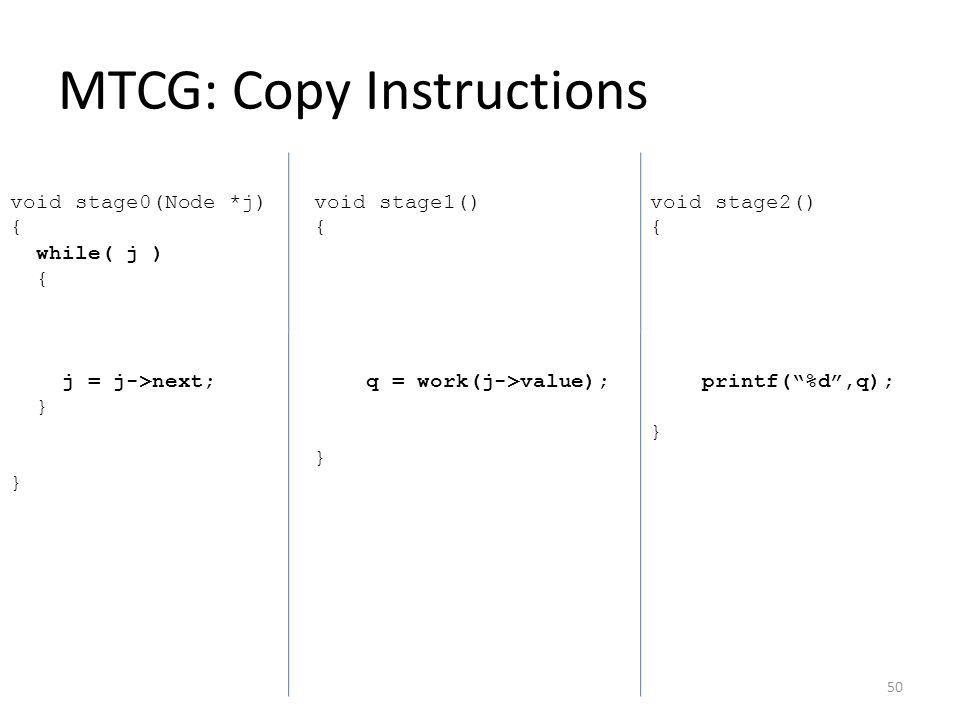 "MTCG: Copy Instructions void stage0(Node *j) { while( j ) { j = j->next; } } void stage1() { q = work(j->value); } void stage2() { printf(""%d"",q); } 5"
