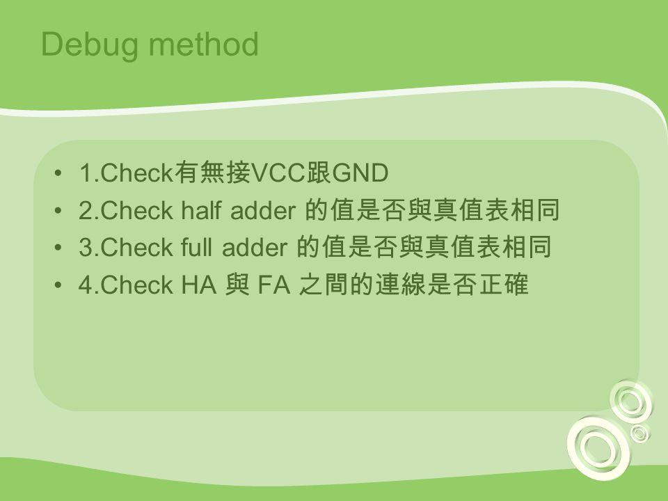 Debug method 1.Check 有無接 VCC 跟 GND 2.Check half adder 的值是否與真值表相同 3.Check full adder 的值是否與真值表相同 4.Check HA 與 FA 之間的連線是否正確