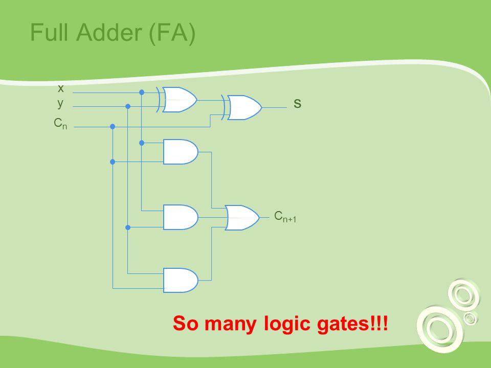 Full Adder (FA) C n+1 x y CnCn s So many logic gates!!!