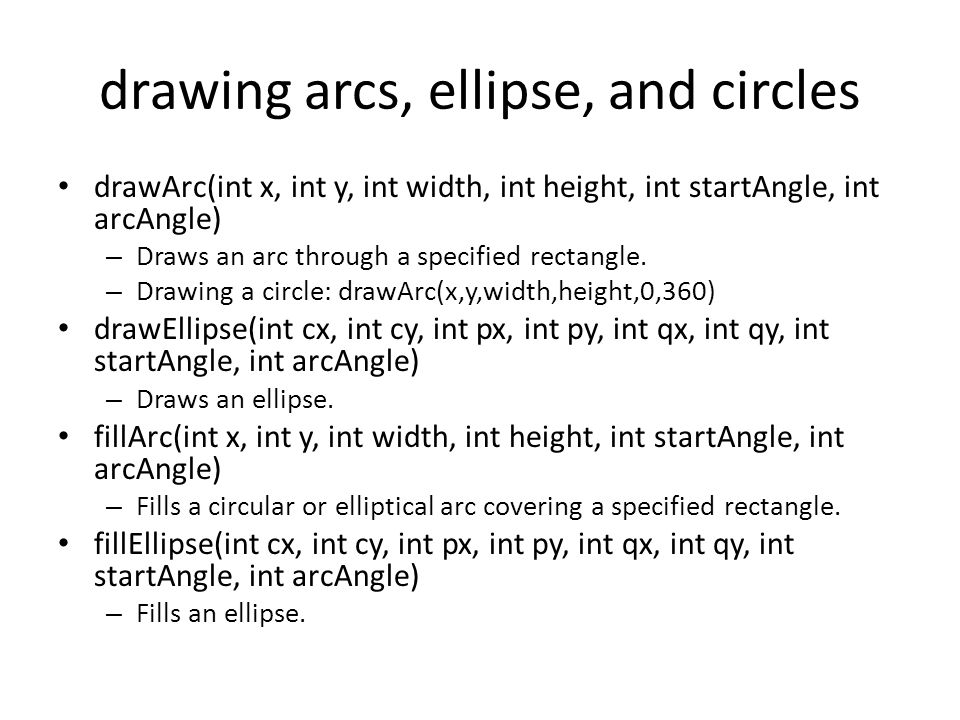 drawing arcs, ellipse, and circles drawArc(int x, int y, int width, int height, int startAngle, int arcAngle) – Draws an arc through a specified recta