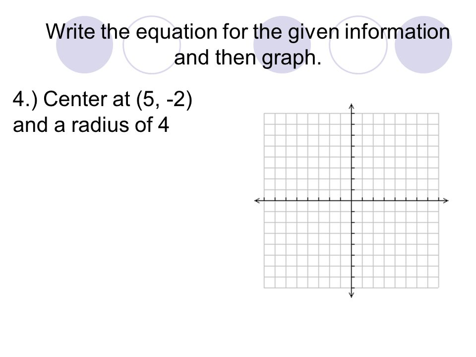 4.) Center at (5, -2) and a radius of 4 Write the equation for the given information and then graph.